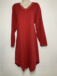 Cacique Sleepwear Nightgown Gown Plus Sz 18 / 20 Red 100% Stretchy Cotton Lace