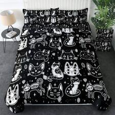 Black Skull Witchcraft Cat King Queen Twin Quilt Duvet Pillow Cover Bed Set