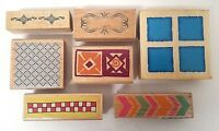 Rubber Stamps - Borders Shapes Designs Squares Arrows - Wood Mounted LOT OF 7