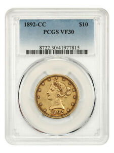 1892-CC $10 PCGS VF30 - Low Mintage Date - Liberty Eagle - Gold Coin