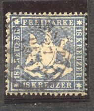 Wuerttemberg 1861 the 18 Kr. used, Michel 20 y,  Scott # 29, expertly repaired