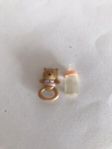 SYLVANIAN FAMILIES - BLUE BABY BOTTLE ,& TEETHER / RATTLE