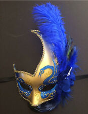 Feather Venetian Masquerade Costume Ball Prom Dance Party Wedding Gold Blue Mask
