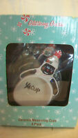 CERAMIC SNOW MAN MEASURING CUPS SET OF FOUR, BNIP from GLITTERING GOODIES