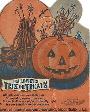 Vintage 1940's Rosen Halloween Lollipop Candy Card ~ Pumpkin ~ Mint!