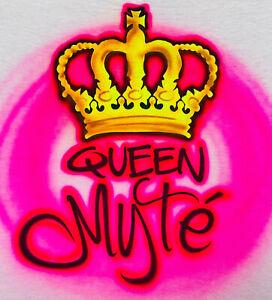 Queen Crown, Airbrush, Neon Pink, T Shirt or Hoodie Sweatshirt w/ Name
