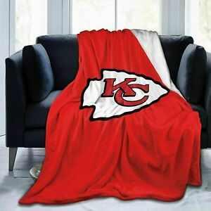 Kansas City Chiefs Fans Blanket Sofa Couch Bed Sherpa Fleece Throw Blanket Gift