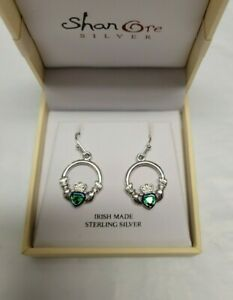 Shanore Sterling Silver Emerald Claddagh Earrings