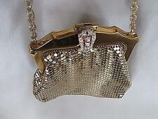 Vintage WHITING & DAVIS Gold Mesh Chainmail Frame tiny Purse w/Rhinestone Clasp