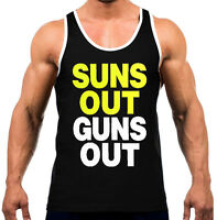 New Men's Sun's Out Guns Out Black Tank Top WT Gym Fitness Workout Bodybuilding