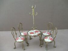 Vintage 6 Piece Doll House Patio Set Table 4 chairs Clothes Rack
