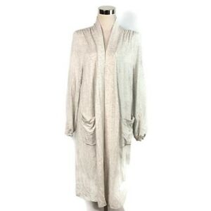 Hatch Womens Maternity Heather Gray Open Front Cardigan Duster w/ Pockets O/S