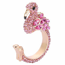 Flamingo Bird Full Pink Austrian Crystal Ring Size 6 Gold GP Animal Lady Gift