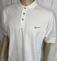 Vintage NIKE Polo Shirt Embroidered Gold Swoosh White Retro 90s Short Sleeve S