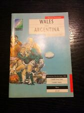 1991 RUGBY WORLD CUP WALES V ARGENTINA RUGBY PROGRAMME