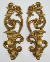 Vintage Hollywood Regency Gold Wall Sconces Candle Holders Homco 1971