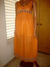 Vintage Veronique Orange soyeux nylon Organza pleine longueur Nuisette Chemise de nuit 10