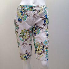 Sportscraft sz 6 Stretch Cotton White w Blue Floral print Shorts AS NEW