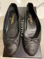 "CHANEL 37.5 Black grained lambskin ballet ballerina flats cap round toe ""CC"""