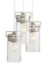 NEW allen+roth Vallymede 9.84-in Brushed Nickel Barn Multi-Light Clear Glass Jar