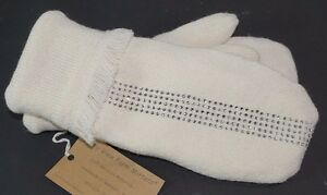 Valley View Farms Ivory Recycled Sweater Mittens Fleece Lined Rhinestone Fringe