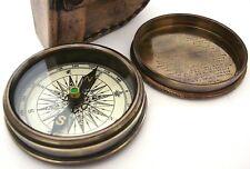 Brass Pocket directionnel Compass Pochette en cuir/Case traditionnelle ancienne