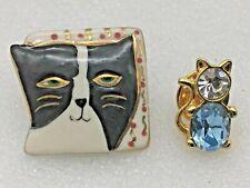 2 Vintage Cat Lapel Pins Painted Ceramic GoldTone Metal With Rhinestones Jewelry