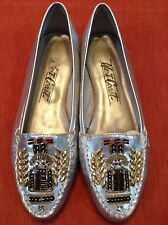 VTG West Coast Metallic Silver Beaded Leather Mocs loafers shoes flats Gold 2! 7