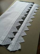 "Antique white Irish linen towel crochet lace to both ends. 22"" x 44"""