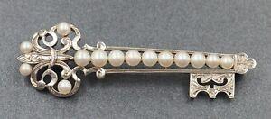 Mikimoto Cultured Pearl Key Style Brooch Sterling Silver Fine Jewellery