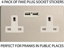 FAKE JOKE UK POWER SOCKET PLUG STICKER DECAL STICKY BACK WATERPROOF PRANK 4 PACK