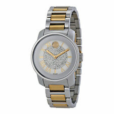 New Movado Bold Pave Crystal Dial Two-Tone Stainless Steel Women's Watch 3600256