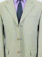 42R Missoni Italy Mens 3 Bttn Silk Wool Blazer Jacket Gray Sage Tattersall Mint!
