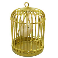 Metal Bird Gold Cage W/ White Bird For 1/12 Dollhouse New set Miniature Kid J5K8