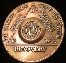Alcoholics Anonymous 49 Year AA Bronze Medallion Coin Token Chip Sobrity Sober