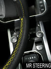 FITS MG MAGNETTE ZB 56-58 TRUE LEATHER STEERING WHEEL COVER YELLOW DOUBLE STITCH