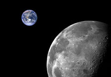 """Wallpaper mural Moon and Earth """"Cosmo"""" Picture Wall Art Black & Silver"""