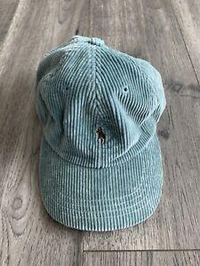Vintage Polo Ralph Lauren Corduroy Green Pony Horse Leather Strap Back Hat