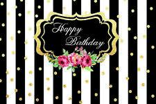 7X5FT Black & White Striped Happy Birthday Vinyl Studio Backdrop Background Prop