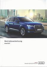 AUDI Q7 / Q7 e-tron 4M Betriebsanleitung 2016 Bedienungsanleitung Handbuch  2 BA