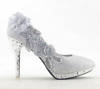 Floral Bow Knot Glitter Women Shoes Bridal Wedding High Heels Ladies New Pumps