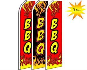 3 Pack Set BBQ Barbecue #2 Swooper Super Advertising Windless Banner Flag
