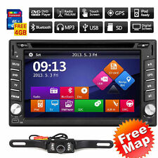 Double 2Din Car DVD Player GPS Navigation Dual Zone Radio iPod Bluetooth+Camera~