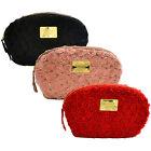 Victoria's Secret Cosmetic Bag Satin Flowers Rose Makeup Travel Case Zip Clutch