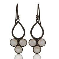 Rainbow Moonstone Black Oxidized 925 Sterling Silver Dangle Earrings Jewelry