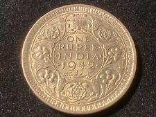 T2: British India 1942 Silver Rupee. Higher Grade