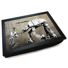Deluxe Cushioned Lap Tray   Wooden Frame   Banksy I Am Your Father Star Wars #BA