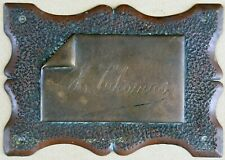 Antique French bronze name door chest office plate plaque sign engraved F Thomas
