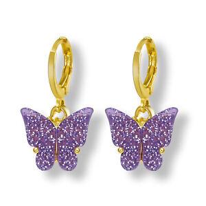 Fashion Glitter Butterfly Acrylic Earrings Drop Dangle Hoop Women Jewelry Gift