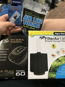 Aquarium Masters Air Pump And Sponge Filter Full Kit For Tanks Up To 60 Gallons